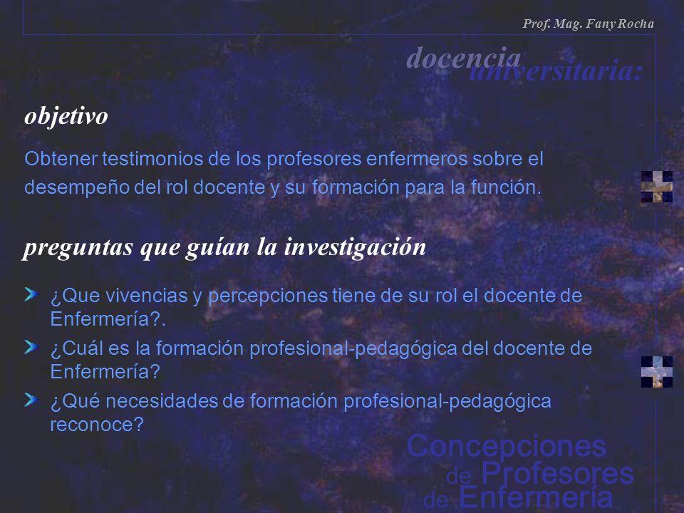 objetivo Obtener testimonios de los profesores enfermeros sobre el desempeño del rol docente y su formación para la función. preguntas que guían la in