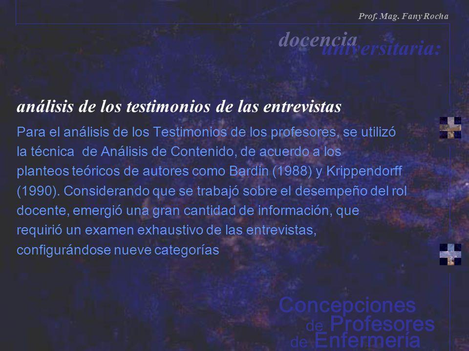 análisis de los testimonios de las entrevistas Para el análisis de los Testimonios de los profesores, se utilizó la técnica de Análisis de Contenido,