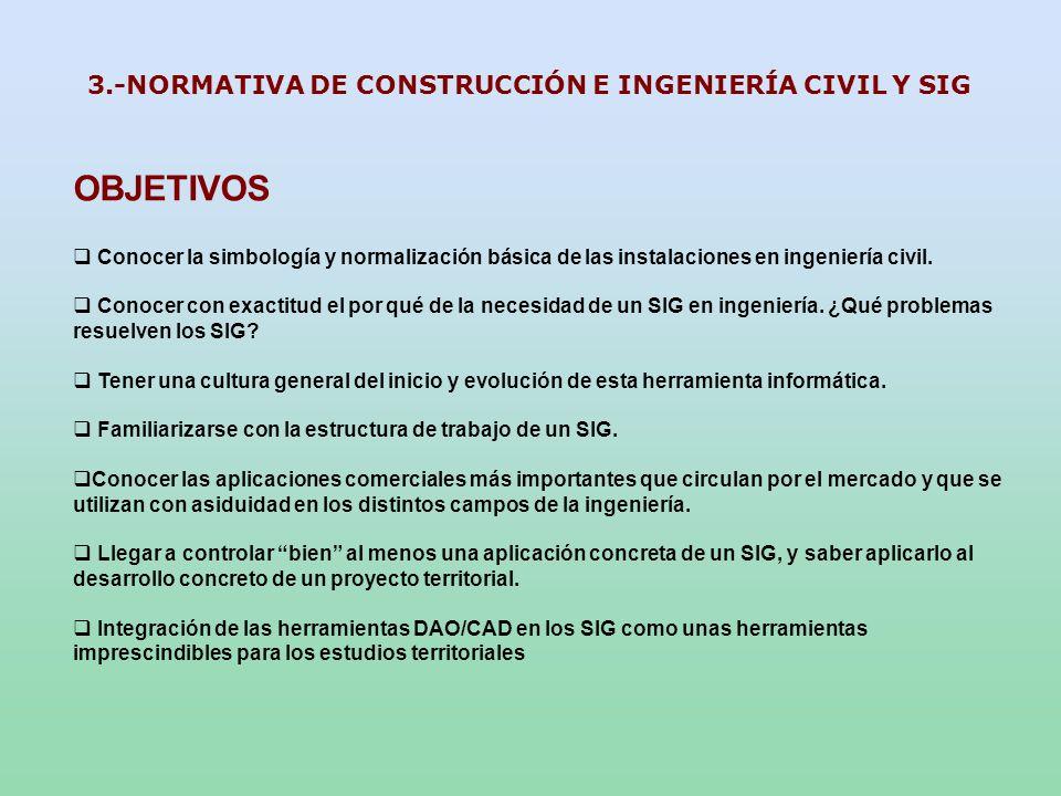 OBJETIVOS Conocer la simbología y normalización básica de las instalaciones en ingeniería civil. Conocer con exactitud el por qué de la necesidad de u