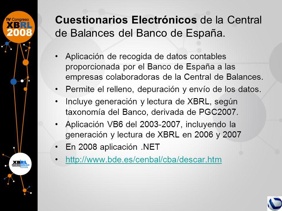 Cuestionarios Electrónicos de la Central de Balances del Banco de España. Aplicación de recogida de datos contables proporcionada por el Banco de Espa