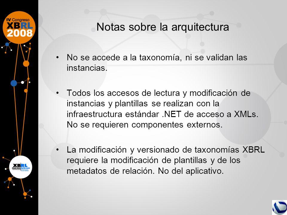 Notas sobre la arquitectura No se accede a la taxonomía, ni se validan las instancias. Todos los accesos de lectura y modificación de instancias y pla
