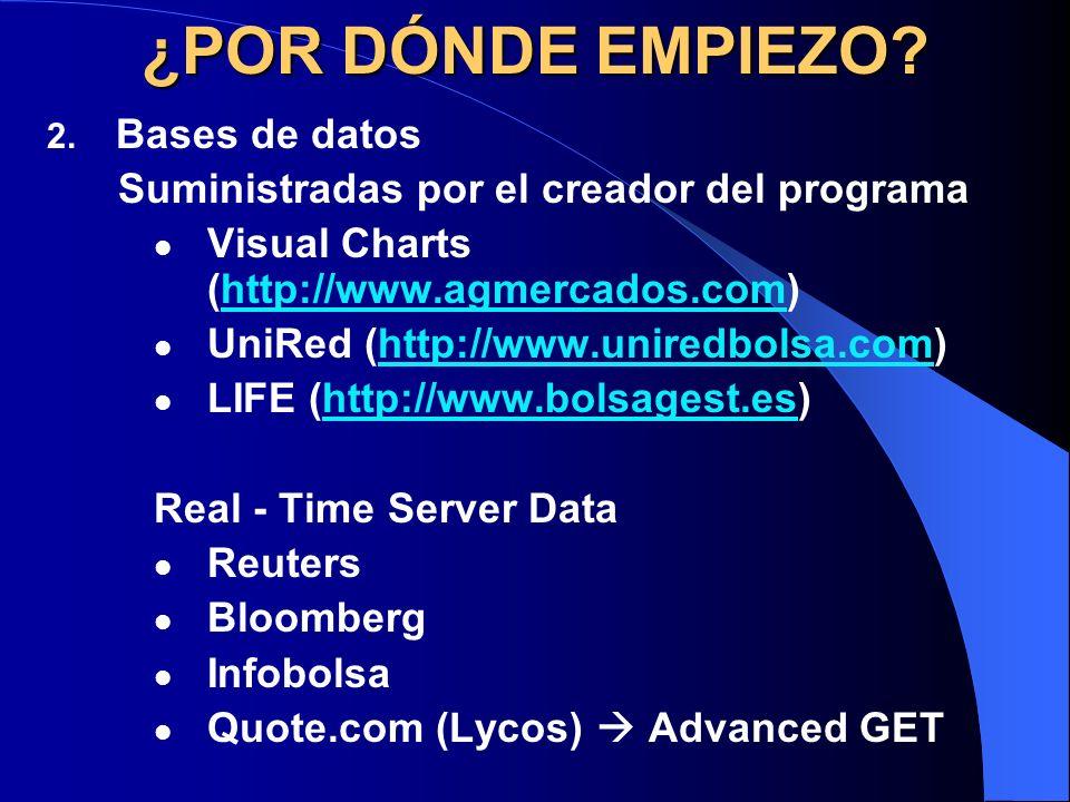¿POR DÓNDE EMPIEZO? 2. Bases de datos Suministradas por el creador del programa Visual Charts (http://www.agmercados.com)http://www.agmercados.com Uni