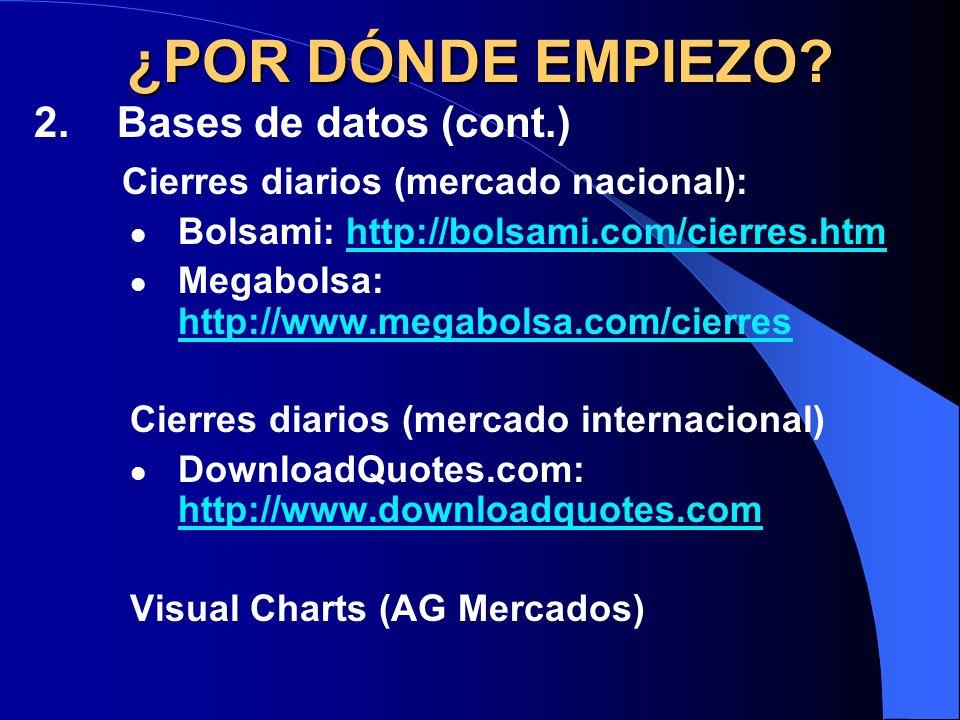 ¿POR DÓNDE EMPIEZO? 2. Bases de datos (cont.) Cierres diarios (mercado nacional): Bolsami: http://bolsami.com/cierres.htmhttp://bolsami.com/cierres.ht