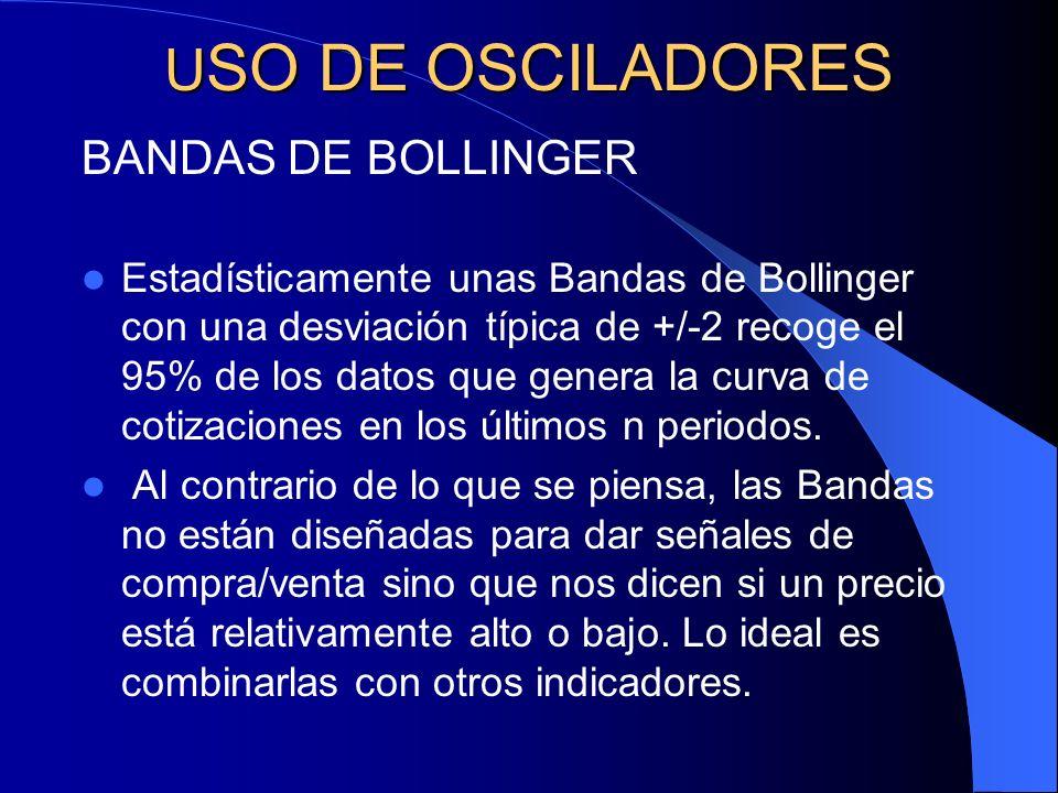 U SO DE OSCILADORES BANDAS DE BOLLINGER Estadísticamente unas Bandas de Bollinger con una desviación típica de +/-2 recoge el 95% de los datos que gen