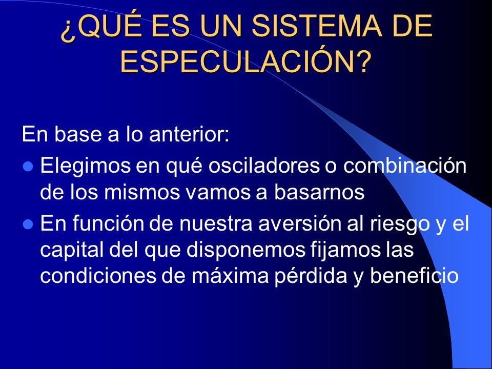 ¿QUÉ ES UN SISTEMA DE ESPECULACIÓN? En base a lo anterior: Elegimos en qué osciladores o combinación de los mismos vamos a basarnos En función de nues