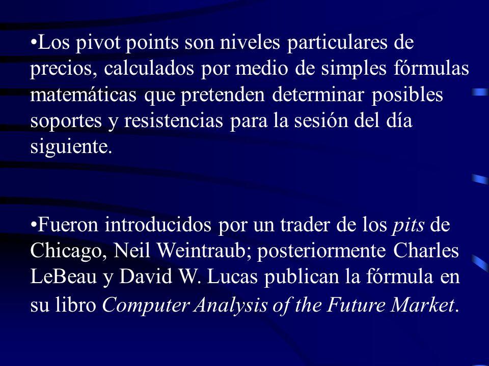 Los pivot points son niveles particulares de precios, calculados por medio de simples fórmulas matemáticas que pretenden determinar posibles soportes