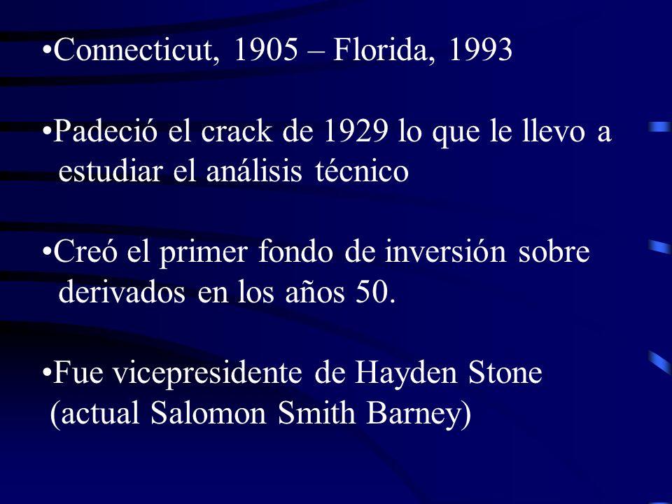 Connecticut, 1905 – Florida, 1993 Padeció el crack de 1929 lo que le llevo a estudiar el análisis técnico Creó el primer fondo de inversión sobre deri