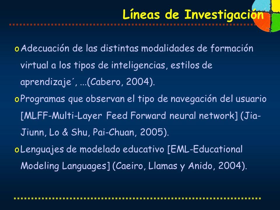 oAdecuación de las distintas modalidades de formación virtual a los tipos de inteligencias, estilos de aprendizaje´,...(Cabero, 2004). oProgramas que