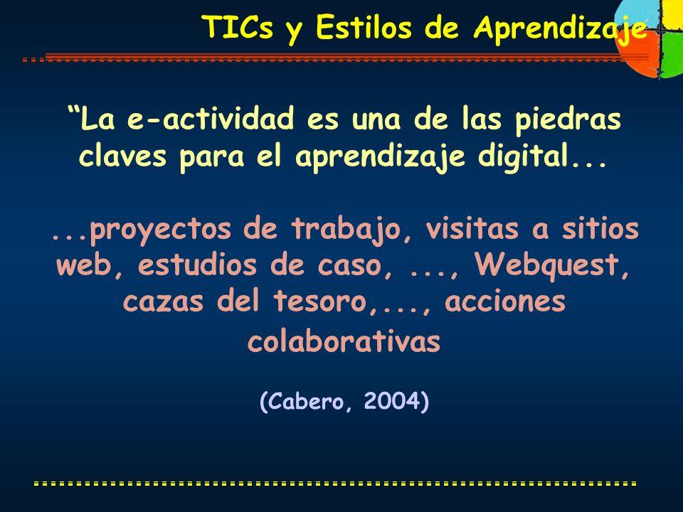TICs y Estilos de Aprendizaje La e-actividad es una de las piedras claves para el aprendizaje digital......proyectos de trabajo, visitas a sitios web,