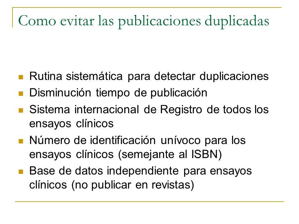 Como evitar las publicaciones duplicadas Rutina sistemática para detectar duplicaciones Disminución tiempo de publicación Sistema internacional de Reg