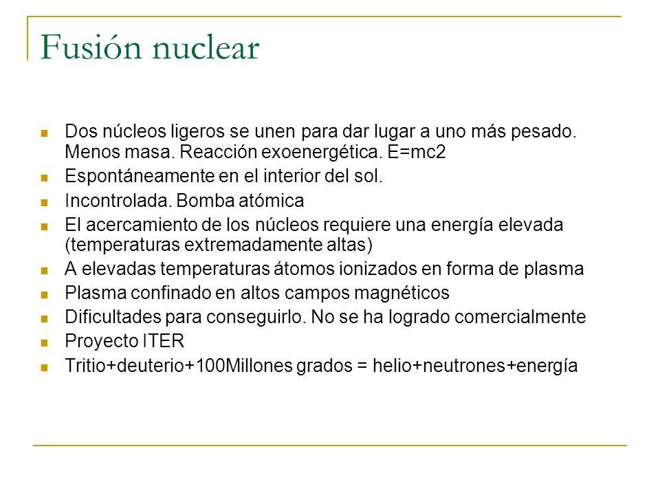 Fusión nuclear Dos núcleos ligeros se unen para dar lugar a uno más pesado. Menos masa. Reacción exoenergética. E=mc2 Espontáneamente en el interior d