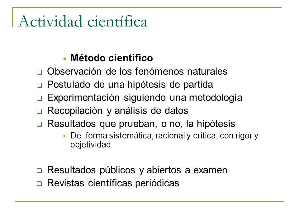 Actividad científica Método científico Observación de los fenómenos naturales Postulado de una hipótesis de partida Experimentación siguiendo una meto