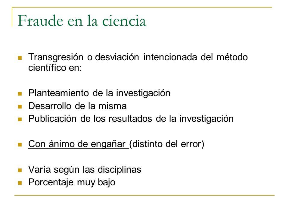Fraude en la ciencia Transgresión o desviación intencionada del método científico en: Planteamiento de la investigación Desarrollo de la misma Publica