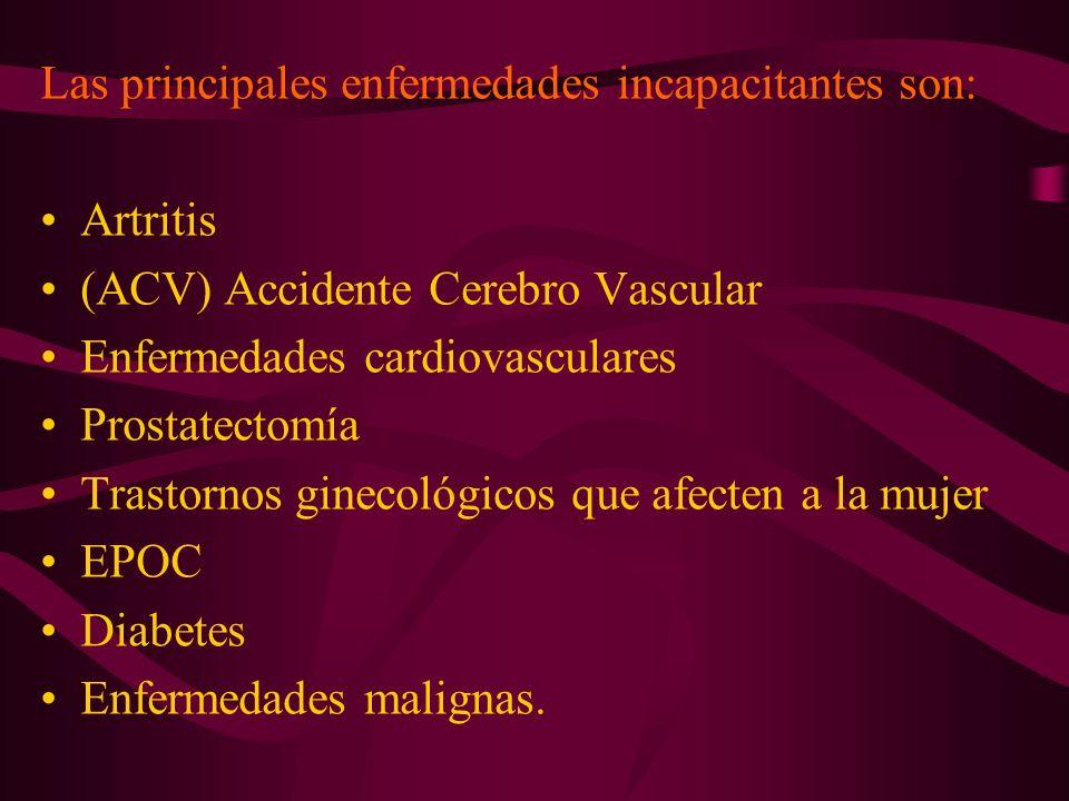 Las principales enfermedades incapacitantes son: Artritis (ACV) Accidente Cerebro Vascular Enfermedades cardiovasculares Prostatectomía Trastornos gin