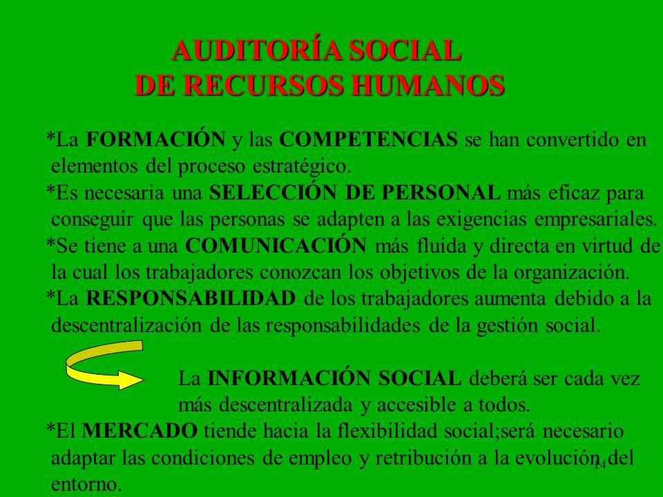 14 AUDITORÍA SOCIAL DE RECURSOS HUMANOS *La FORMACIÓN y las COMPETENCIAS se han convertido en elementos del proceso estratégico. *Es necesaria una SEL