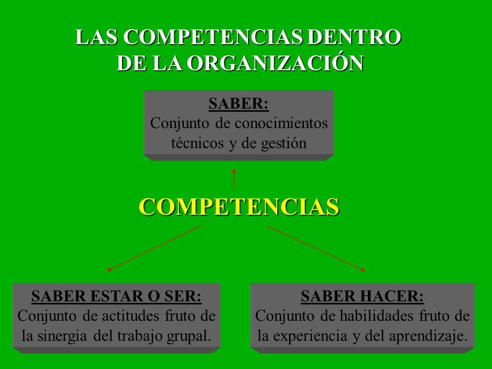 15 LAS COMPETENCIAS DENTRO DE LA ORGANIZACIÓN DE LA ORGANIZACIÓN SABER: Conjunto de conocimientos técnicos y de gestión COMPETENCIAS COMPETENCIAS SABE