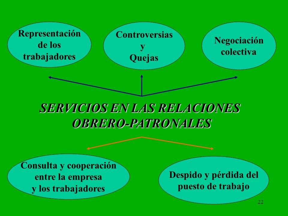 22 Representación de los trabajadores Controversias y Quejas Consulta y cooperación entre la empresa y los trabajadores Despido y pérdida del puesto d