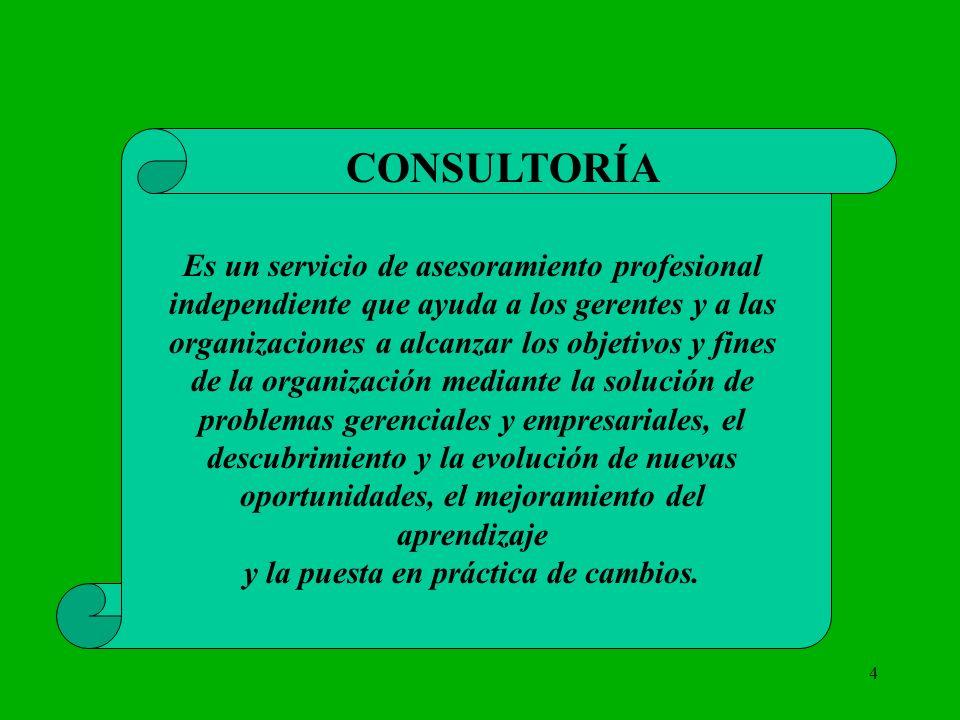 4 CONSULTORÍA Es un servicio de asesoramiento profesional independiente que ayuda a los gerentes y a las organizaciones a alcanzar los objetivos y fin