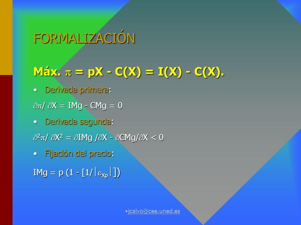 jcalvo@cee.uned.es FORMALIZACIÓN Máx.= pX - C(X) = I(X) - C(X).