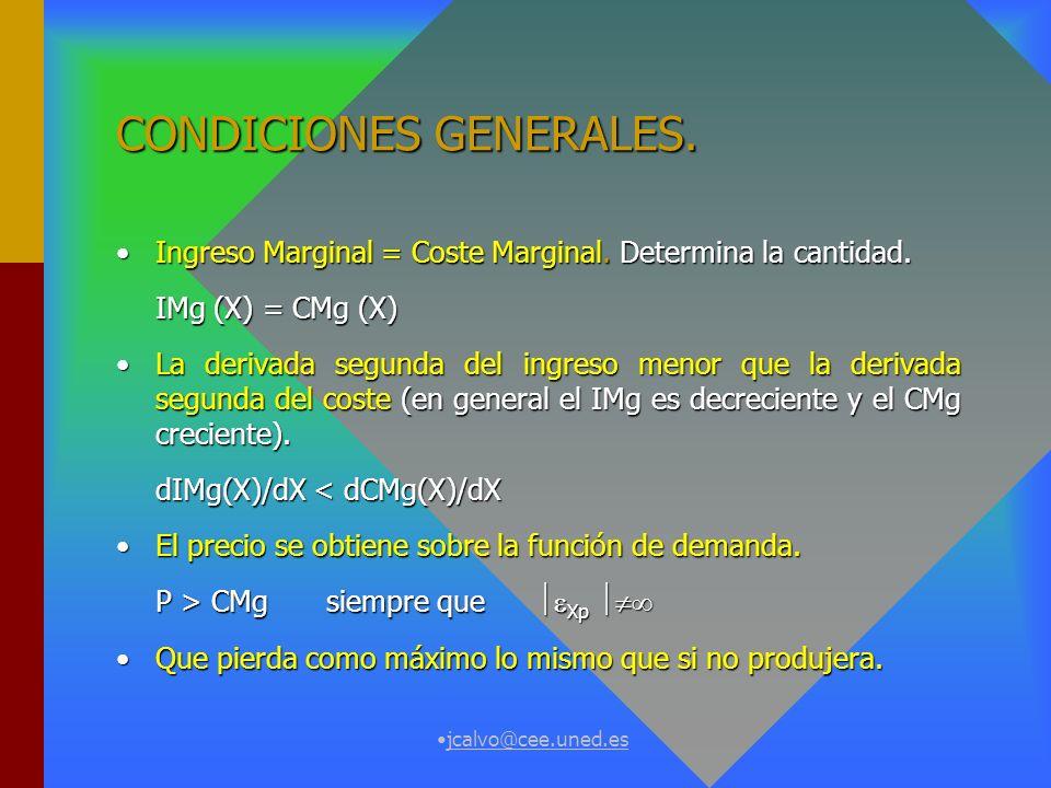 jcalvo@cee.uned.es FORMALIZACIÓN Máx. = pX - C(X) = I(X) - C(X). Derivada primera:Derivada primera: / X = IMg - CMg = 0 / X = IMg - CMg = 0 Derivada s