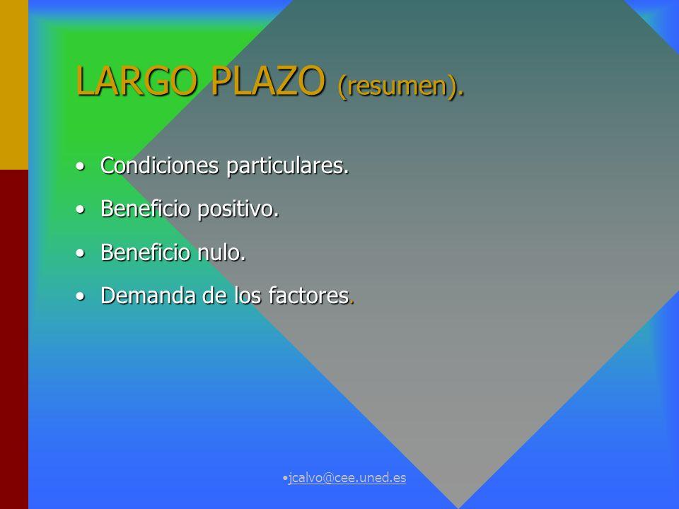 jcalvo@cee.uned.es CORTO PLAZO (resumen). Condiciones particulares.Condiciones particulares. Beneficio positivo.Beneficio positivo. Beneficio nulo.Ben
