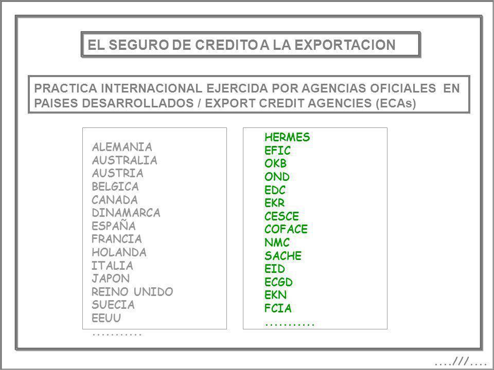 EL SEGURO DE CREDITO A LA EXPORTACION PRACTICA INTERNACIONAL EJERCIDA POR AGENCIAS OFICIALES EN PAISES DESARROLLADOS / EXPORT CREDIT AGENCIES (ECAs)..