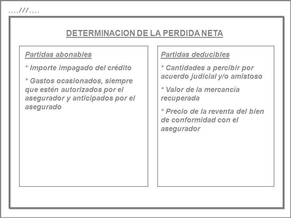 DETERMINACION DE LA PERDIDA NETA....///.... Partidas abonables * Importe impagado del crédito * Gastos ocasionados, siempre que estén autorizados por