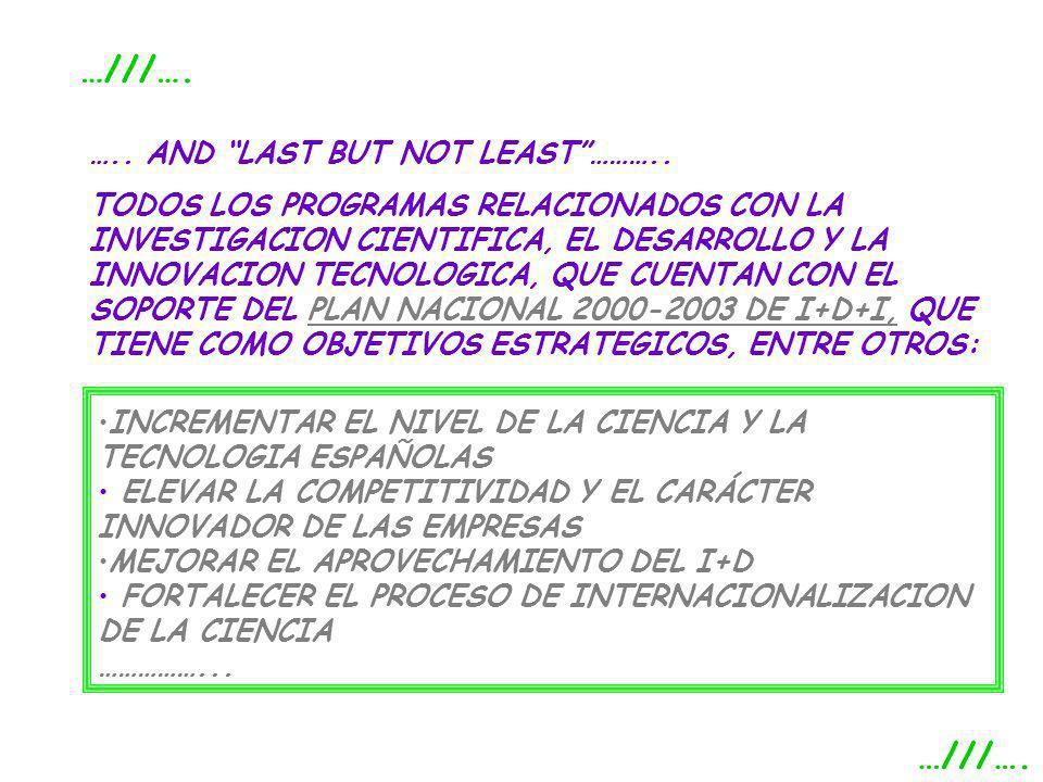 ….. AND LAST BUT NOT LEAST……….. TODOS LOS PROGRAMAS RELACIONADOS CON LA INVESTIGACION CIENTIFICA, EL DESARROLLO Y LA INNOVACION TECNOLOGICA, QUE CUENT