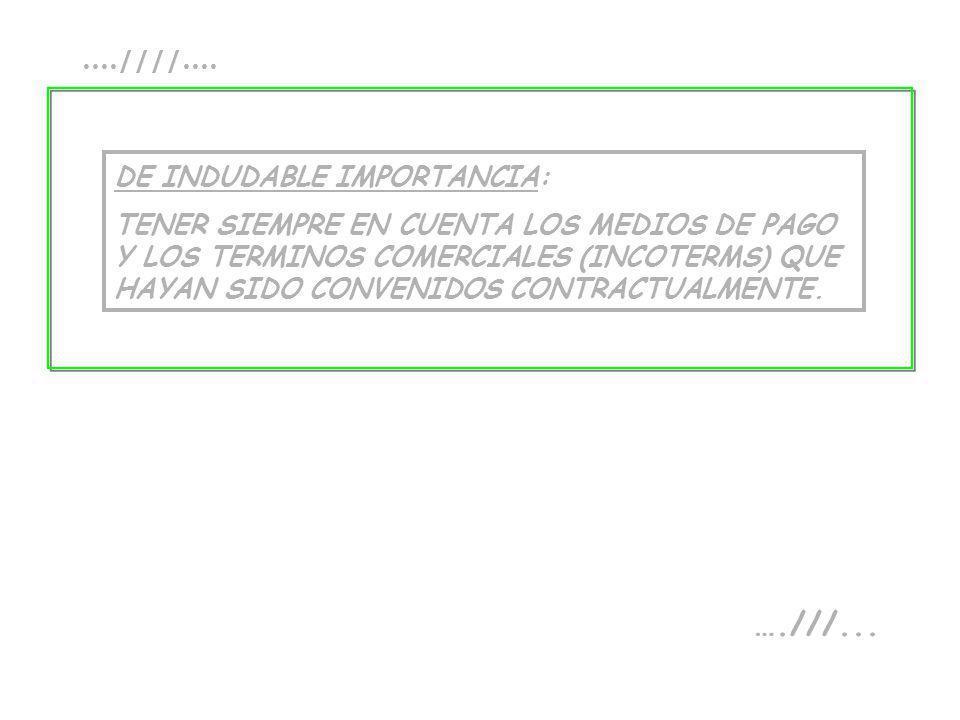 ....////.... DE INDUDABLE IMPORTANCIA: TENER SIEMPRE EN CUENTA LOS MEDIOS DE PAGO Y LOS TERMINOS COMERCIALES (INCOTERMS) QUE HAYAN SIDO CONVENIDOS CON