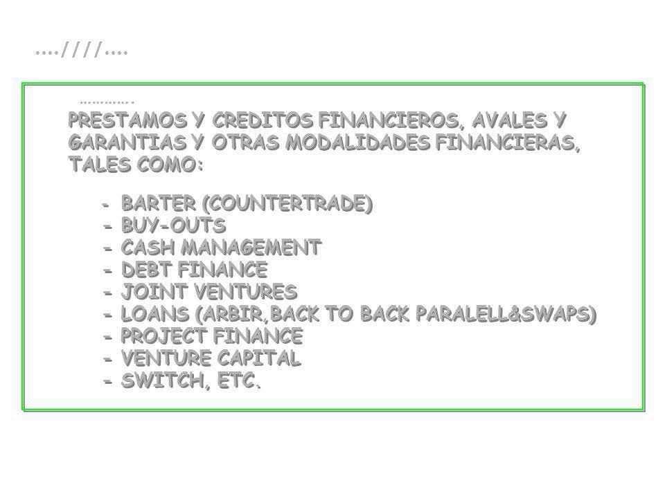 PRESTAMOS Y CREDITOS FINANCIEROS, AVALES Y GARANTIAS Y OTRAS MODALIDADES FINANCIERAS, TALES COMO: - BARTER (COUNTERTRADE) - BUY-OUTS - CASH MANAGEMENT