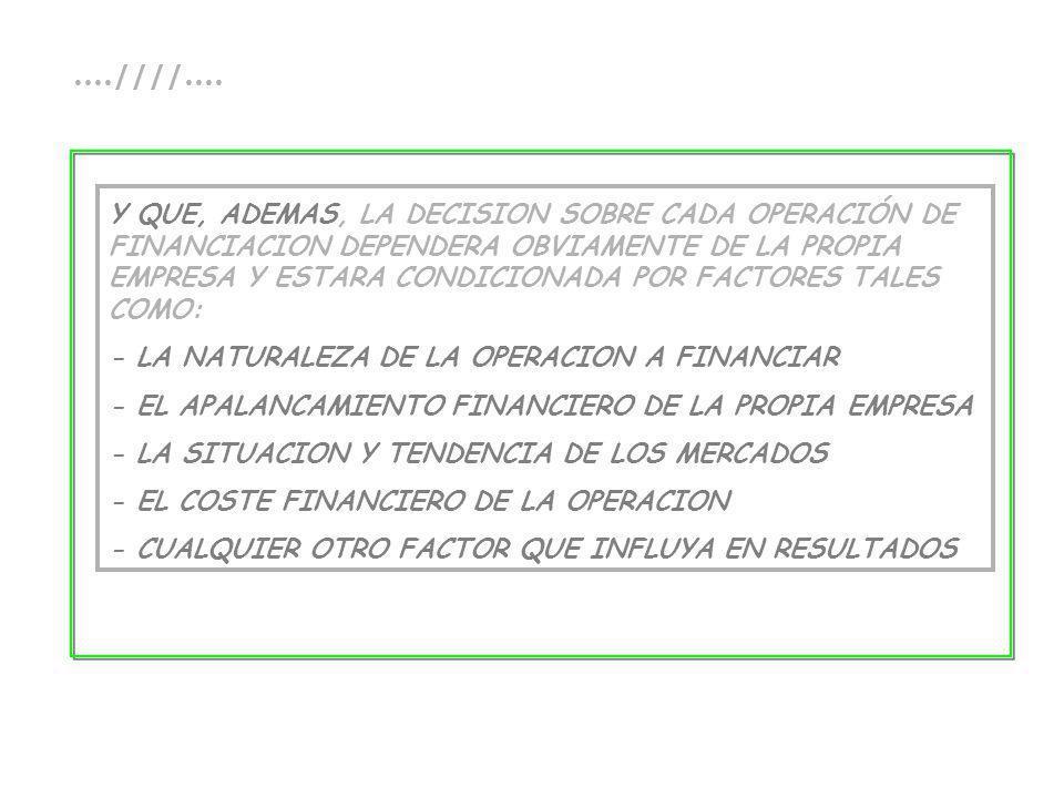 ....////.... Y QUE, ADEMAS, LA DECISION SOBRE CADA OPERACIÓN DE FINANCIACION DEPENDERA OBVIAMENTE DE LA PROPIA EMPRESA Y ESTARA CONDICIONADA POR FACTO