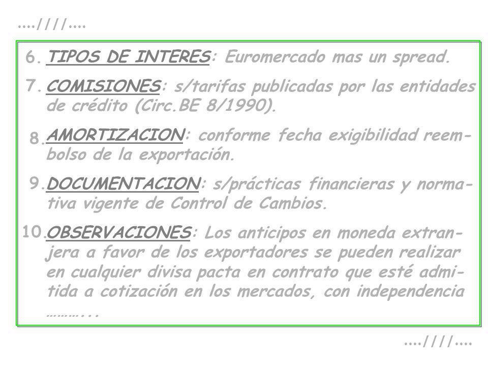 TIPOS DE INTERES: Euromercado mas un spread. COMISIONES: s/tarifas publicadas por las entidades de crédito (Circ.BE 8/1990). AMORTIZACION: conforme fe