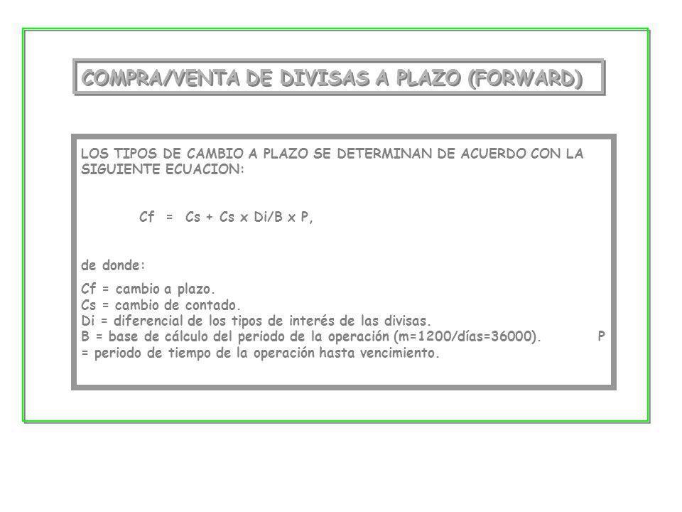 COMPRA/VENTA DE DIVISAS A PLAZO (FORWARD) LOS TIPOS DE CAMBIO A PLAZO SE DETERMINAN DE ACUERDO CON LA SIGUIENTE ECUACION: Cf = Cs + Cs x Di/B x P, de