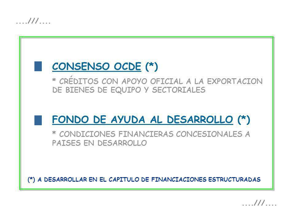 f CONSENSO OCDE (*) * CRÉDITOS CON APOYO OFICIAL A LA EXPORTACION DE BIENES DE EQUIPO Y SECTORIALES FONDO DE AYUDA AL DESARROLLO (*) * CONDICIONES FIN
