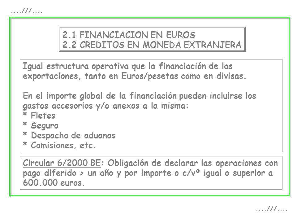 2.1 FINANCIACION EN EUROS 2.2 CREDITOS EN MONEDA EXTRANJERA Igual estructura operativa que la financiación de las exportaciones, tanto en Euros/peseta