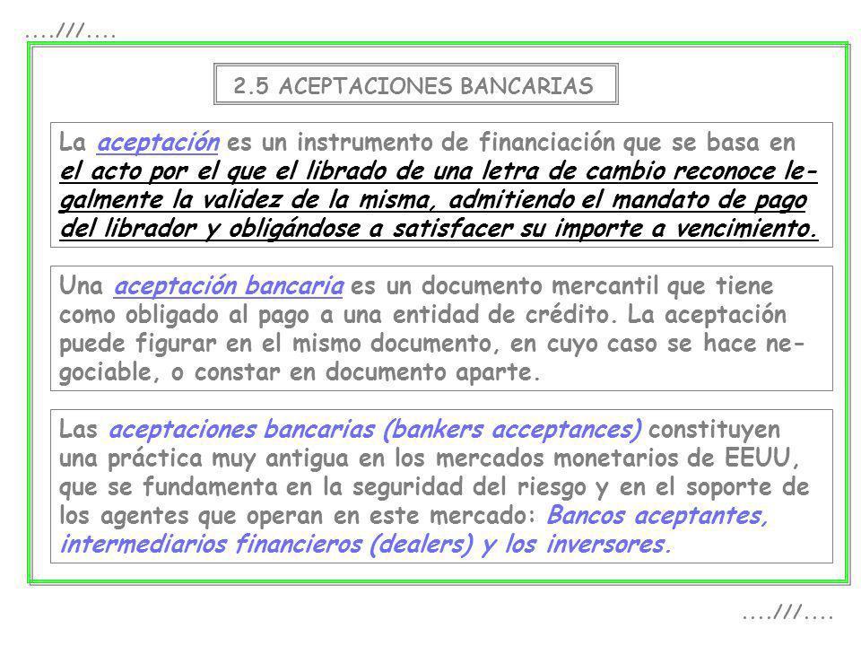 2.5 ACEPTACIONES BANCARIAS La aceptación es un instrumento de financiación que se basa en el acto por el que el librado de una letra de cambio reconoc