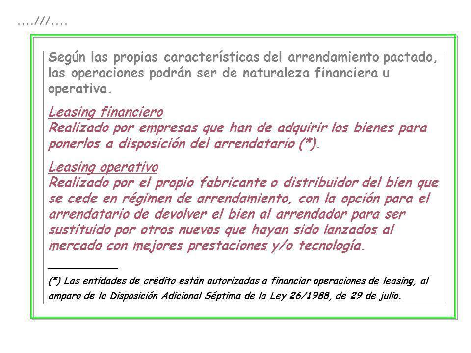 ....///.... Según las propias características del arrendamiento pactado, las operaciones podrán ser de naturaleza financiera u operativa. Leasing fina