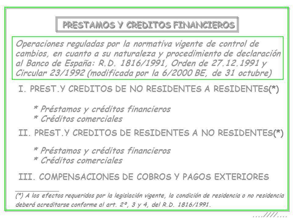 PRESTAMOS Y CREDITOS FINANCIEROS Operaciones reguladas por la normativa vigente de control de cambios, en cuanto a su naturaleza y procedimiento de de