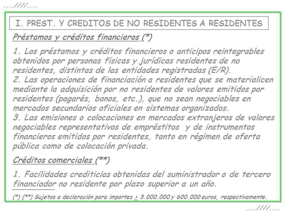 I. PREST. Y CREDITOS DE NO RESIDENTES A RESIDENTES....////.... Préstamos y créditos financieros (*) 1. Los préstamos y créditos financieros o anticipo