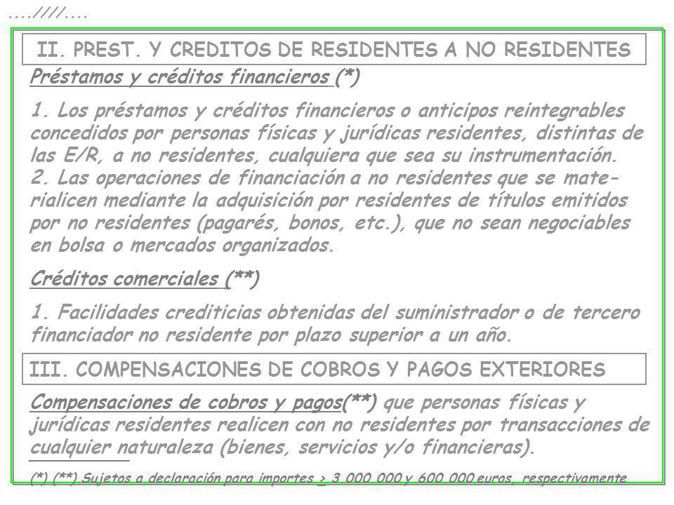 II. PREST. Y CREDITOS DE RESIDENTES A NO RESIDENTES....////.... Préstamos y créditos financieros (*) 1. Los préstamos y créditos financieros o anticip