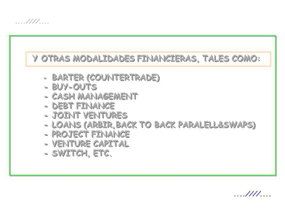 Y OTRAS MODALIDADES FINANCIERAS, TALES COMO: - BARTER (COUNTERTRADE) - BUY-OUTS - CASH MANAGEMENT - DEBT FINANCE - JOINT VENTURES - LOANS (ARBIR,BACK
