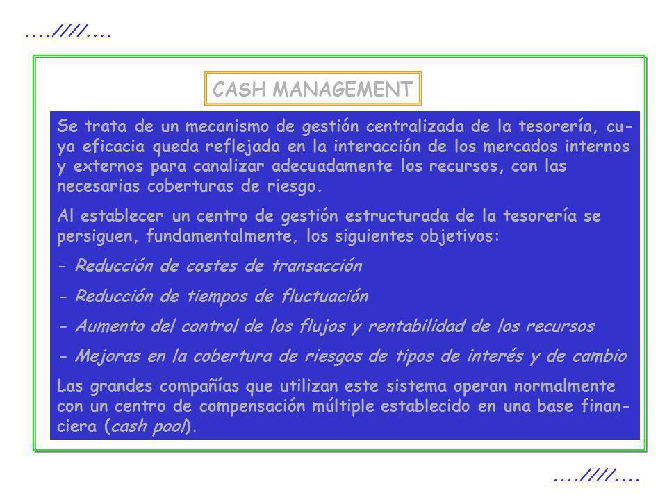 CASH MANAGEMENT....////.... Se trata de un mecanismo de gestión centralizada de la tesorería, cu- ya eficacia queda reflejada en la interacción de los