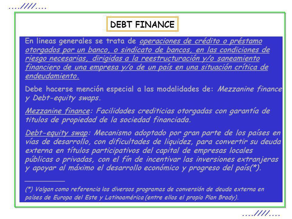 DEBT FINANCE....////.... En lineas generales se trata de operaciones de crédito o préstamo otorgados por un banco, o sindicato de bancos, en las condi
