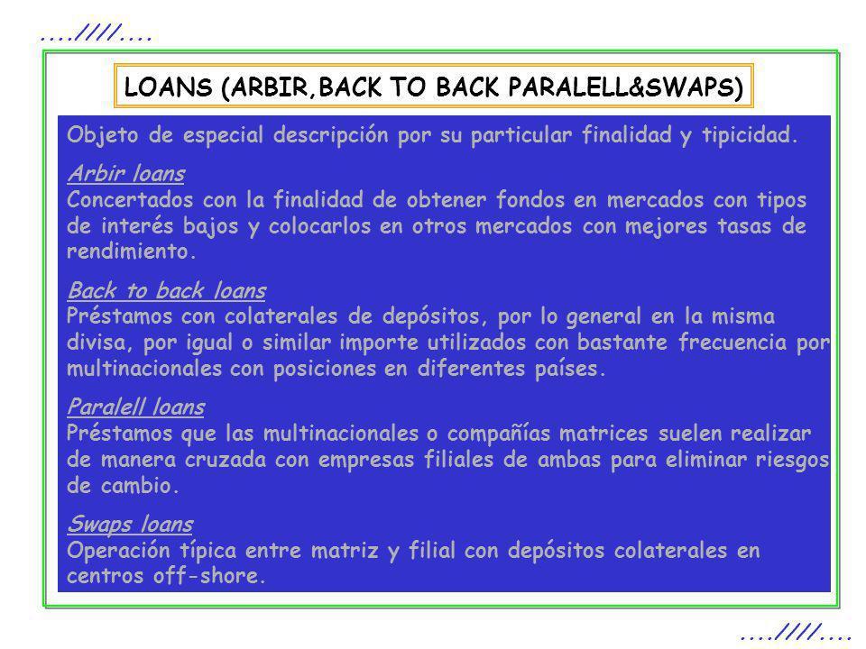 LOANS (ARBIR,BACK TO BACK PARALELL&SWAPS)....////.... Objeto de especial descripción por su particular finalidad y tipicidad. Arbir loans Concertados