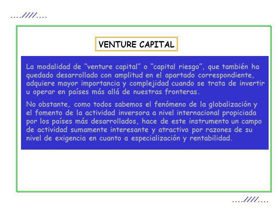 VENTURE CAPITAL....////.... La modalidad de venture capital o capital riesgo, que también ha quedado desarrollado con amplitud en el apartado correspo