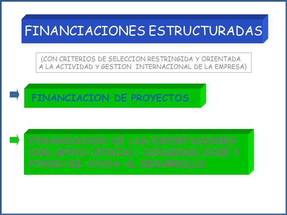 (CON CRITERIOS DE SELECCION RESTRINGIDA Y ORIENTADA A LA ACTIVIDAD Y GESTION INTERNACIONAL DE LA EMPRESA) FINANCIACION DE PROYECTOS FINANCIACION DE LA