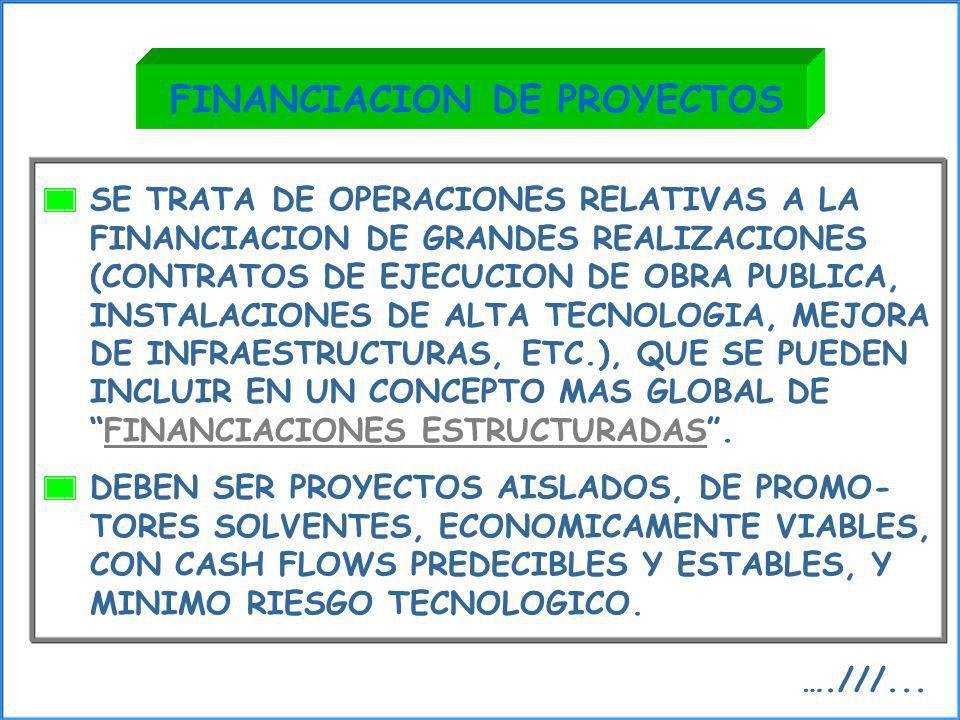 SE TRATA DE OPERACIONES RELATIVAS A LA FINANCIACION DE GRANDES REALIZACIONES (CONTRATOS DE EJECUCION DE OBRA PUBLICA, INSTALACIONES DE ALTA TECNOLOGIA