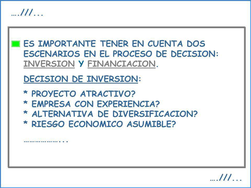 ES IMPORTANTE TENER EN CUENTA DOS ESCENARIOS EN EL PROCESO DE DECISION: INVERSION Y FINANCIACION. DECISION DE INVERSION: * PROYECTO ATRACTIVO? * EMPRE