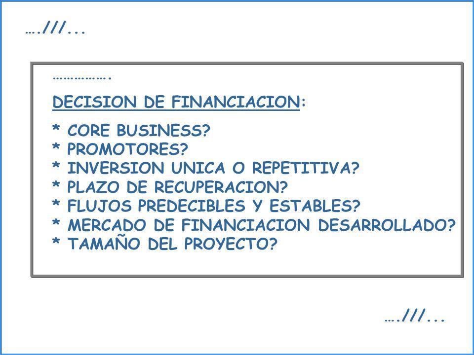 ……………. DECISION DE FINANCIACION: * CORE BUSINESS? * PROMOTORES? * INVERSION UNICA O REPETITIVA? * PLAZO DE RECUPERACION? * FLUJOS PREDECIBLES Y ESTABL