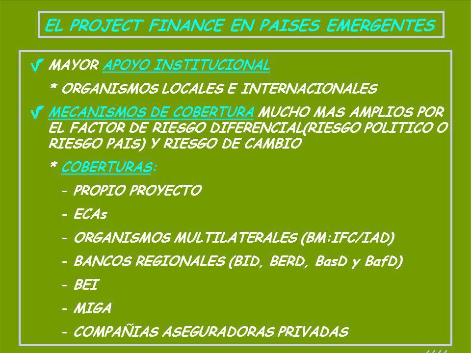 EL PROJECT FINANCE EN PAISES EMERGENTES MAYOR APOYO INSTITUCIONAL * ORGANISMOS LOCALES E INTERNACIONALES MECANISMOS DE COBERTURA MUCHO MAS AMPLIOS POR
